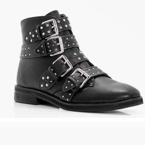 Boohoo Black studded Strap ankle booties